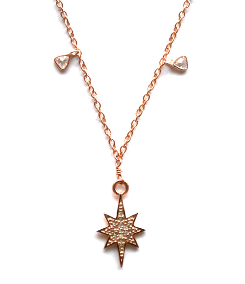 Rose Gold Celestial Diamond Necklace with a Star Charm
