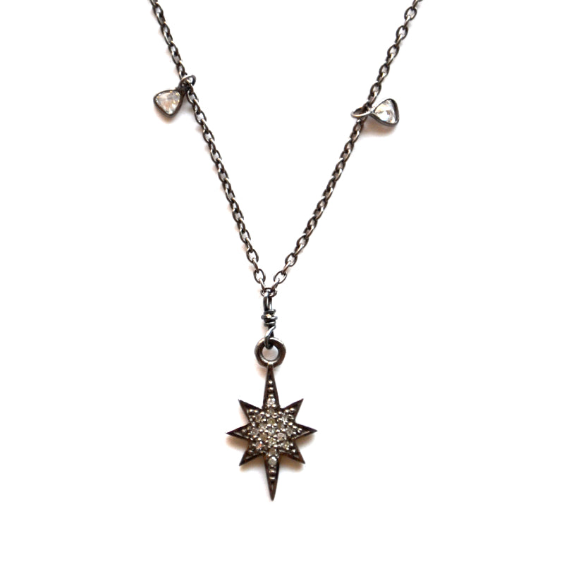 Oxidized Sterling Silver Celestial Diamond Necklace with a Star Charm