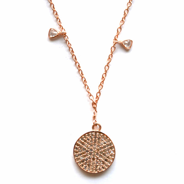 Rose Gold Celestial Diamond Necklace with a Round Disc Charm
