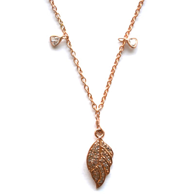 Rose Gold Celestial Diamond Necklace with an Angel Wing Charm