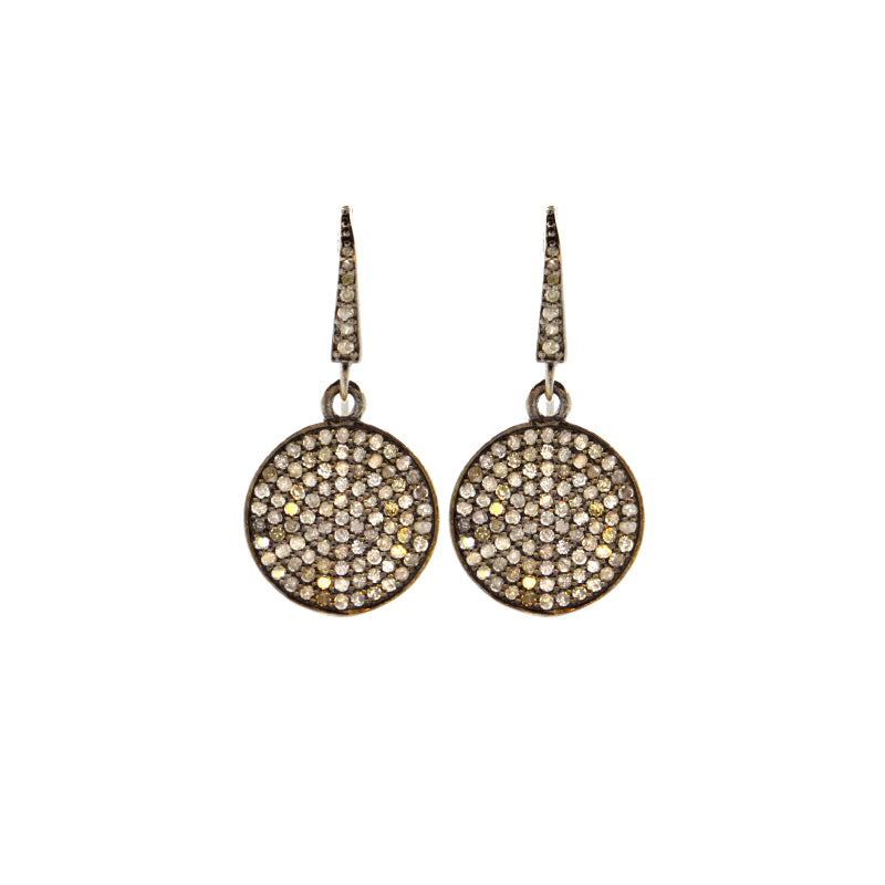 Pave Diamond Circle Drop Earrings in Oxidized Sterling Silver