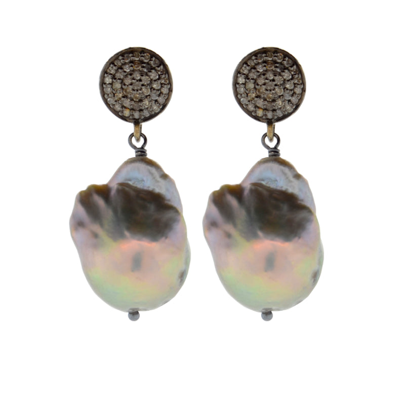Diamond & Gray Baroque Pearl Drop Earrings in Oxidized Sterling Silver