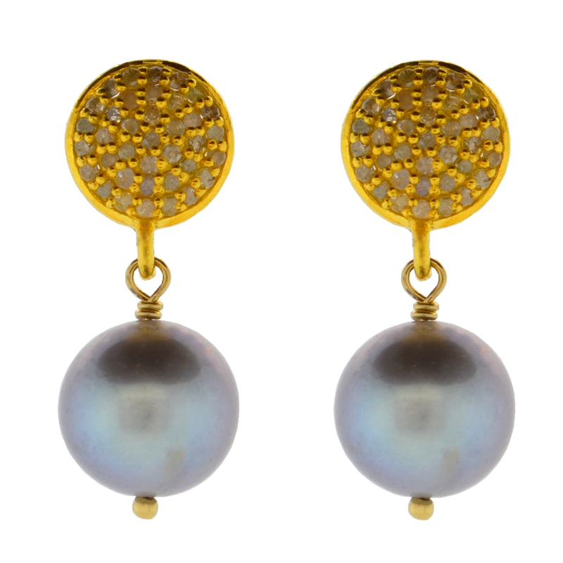 Diamond & Gray Potato Pearl Drop Earrings in Gold