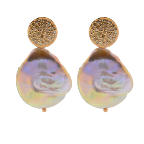 Diamond Rondelle & Gray Potato Pearl Drop Earrings