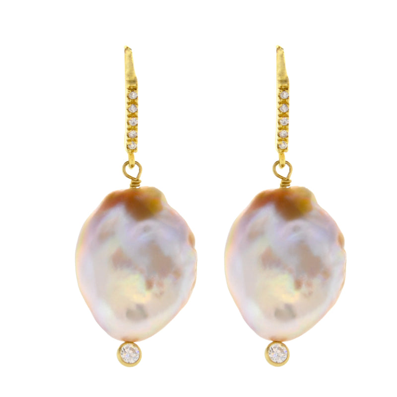 Lavender Baroque Pearl Drop Earrings in Gold