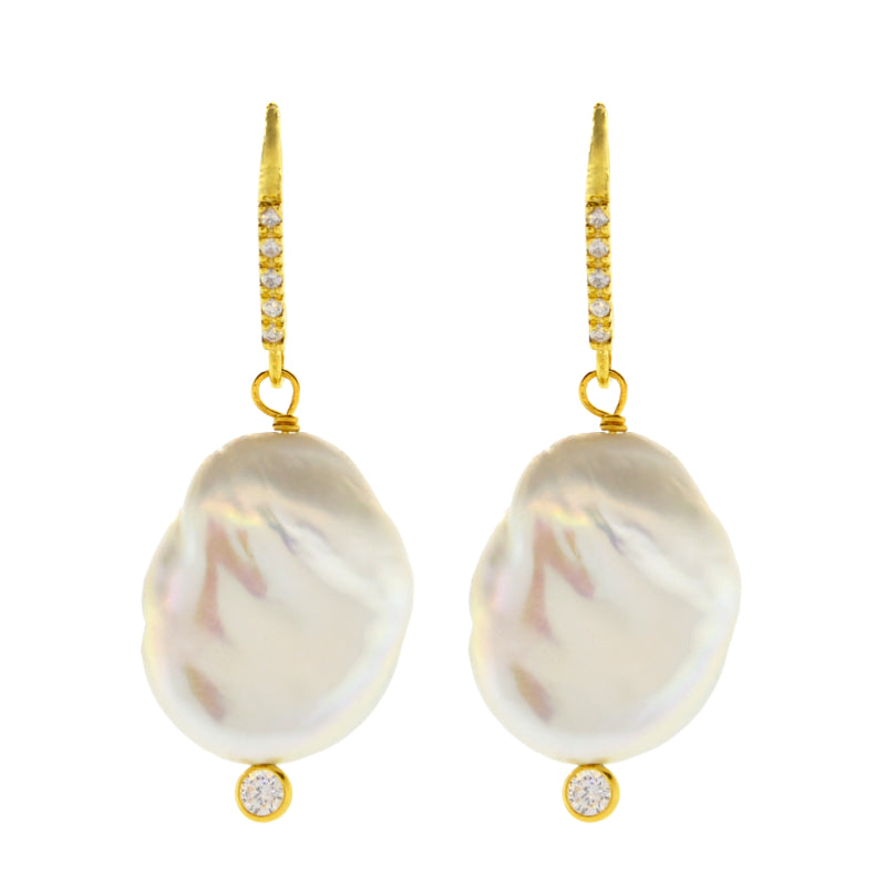 White Baroque Pearl Drop Earrings in Gold