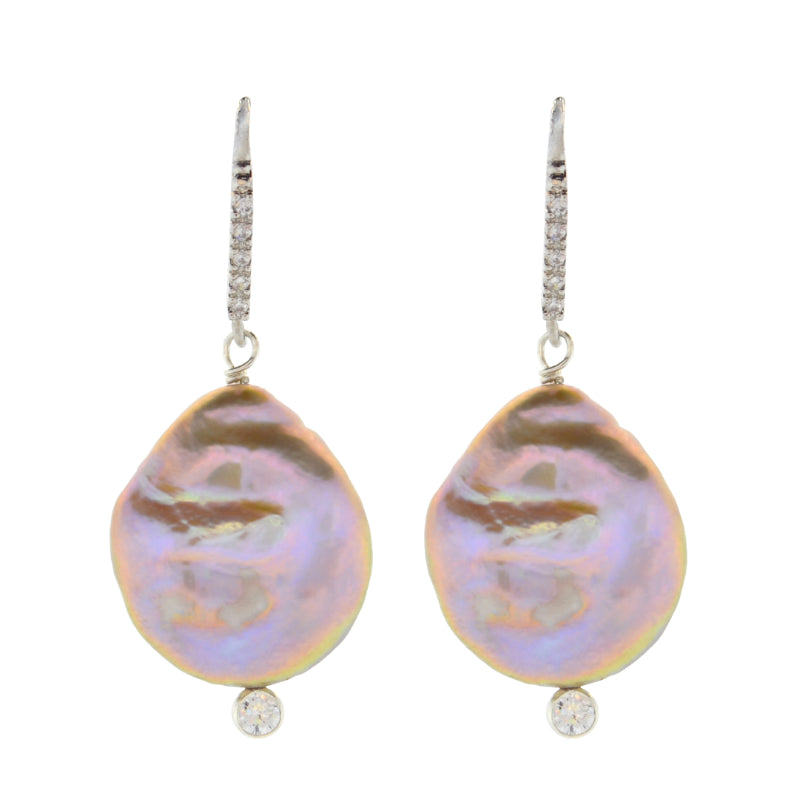 Lavender Baroque Pearl Drop Earrings in Sterling Silver