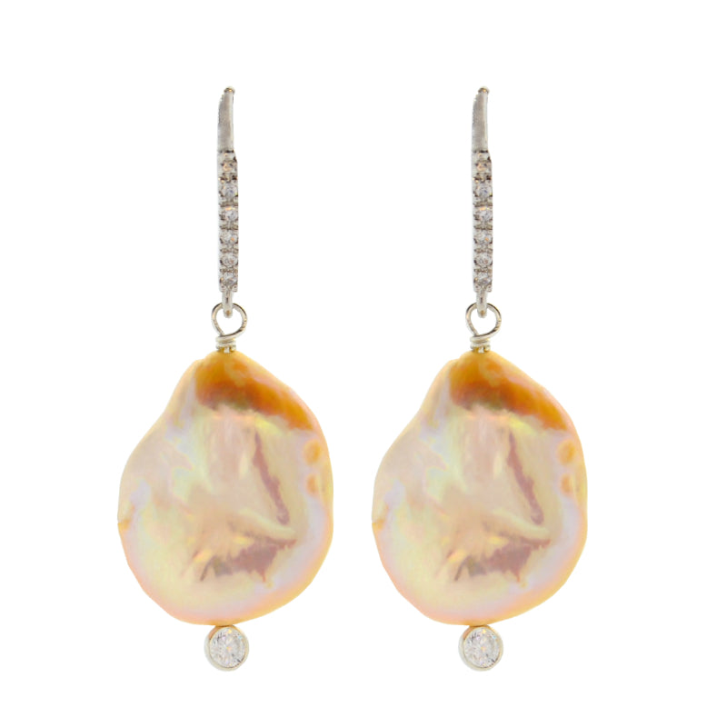 Pink Baroque Pearl Drop Earrings in Sterling Silver