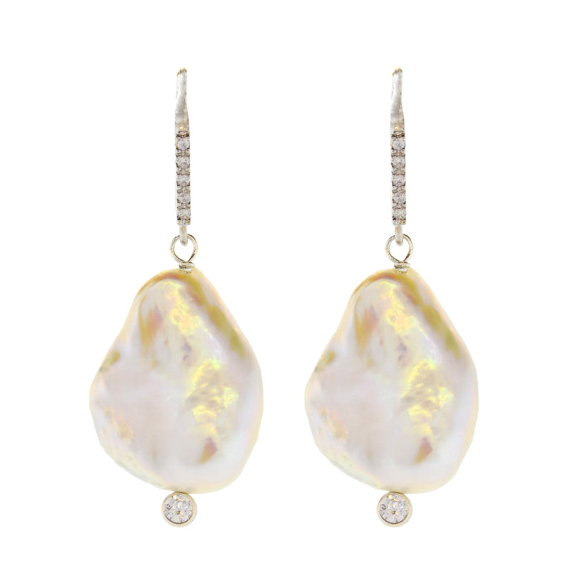 White Baroque Pearl Drop Earrings in Sterling Silver