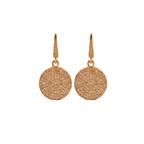 Pave Diamond Circle Drop Earrings in Rose Gold