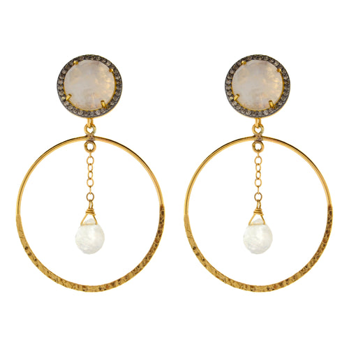 Diamond & Moonstone Hoop Earrings