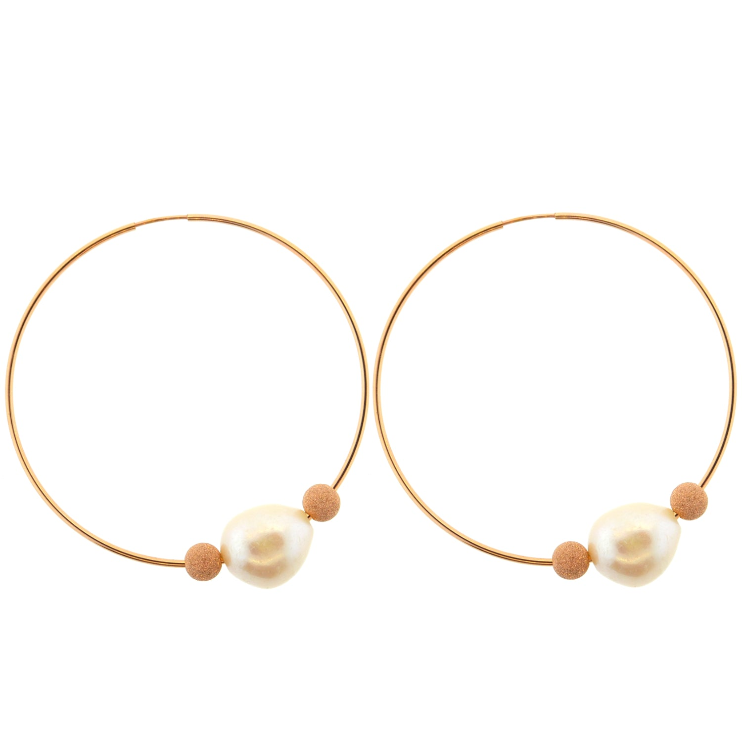 Rose Gold & Pearl Hoops