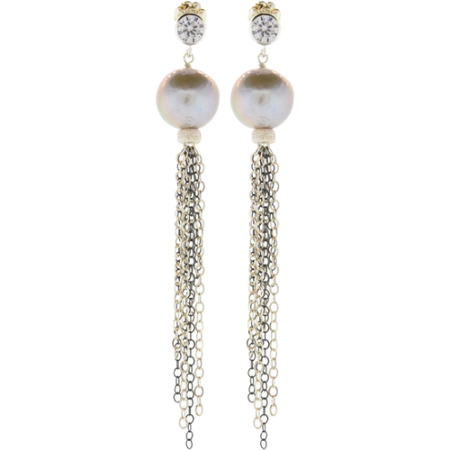 Sterling Silver, Oxidized Sterling Silver & Pearl Earrings