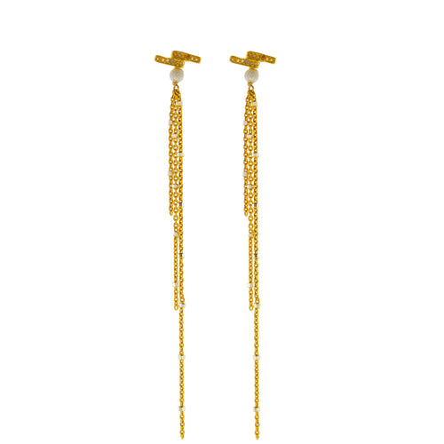 Double Diamond Bar with Gold Starry Nights Dangles
