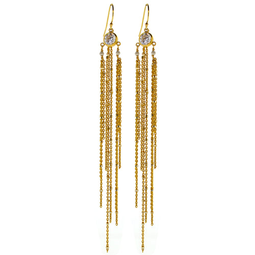 Gold Trio CZ Sweeper Earrings
