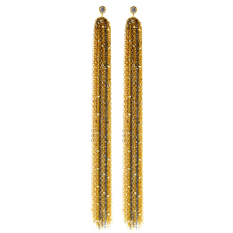 Edgy Gold & Black Sweeper Earrings