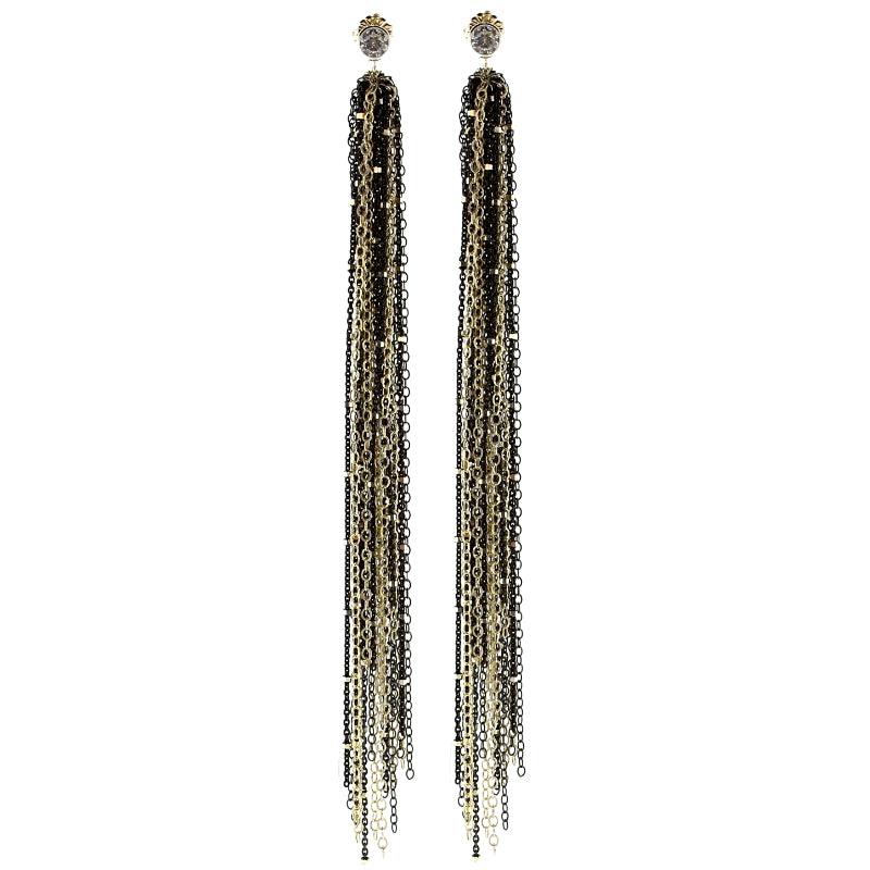 Sweeper Oxidized Sterling Silver Chain Earrings