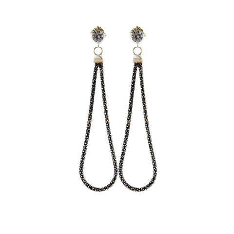 Rhodium Plated & Oxidized Sterling Silver Sweeper Earrings