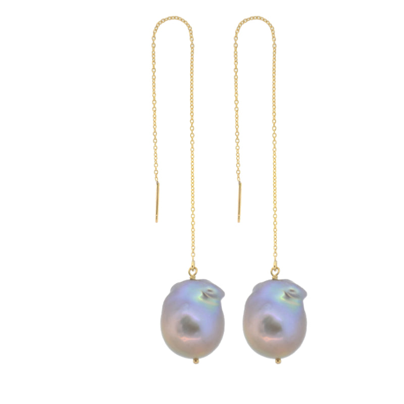 Gray Baroque Pearl Threader Earrings