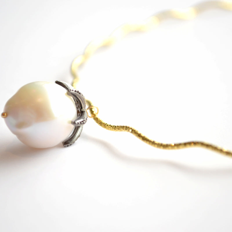 Gold Choker with a White Baroque Pearl