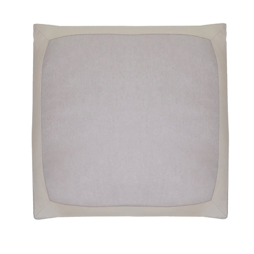100% Cashmere Decorative Pillow with Genuine Leather Trim in Cloudy Gray