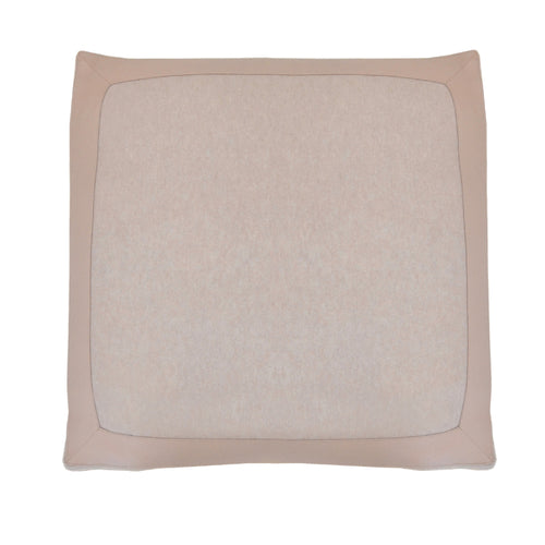100% Cashmere Decorative Pillow with Genuine Leather Trim in Oatmeal