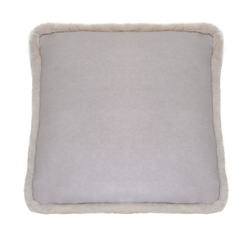 100% Cashmere Decorative Pillow with Rabbit Trim in Cloudy Gray