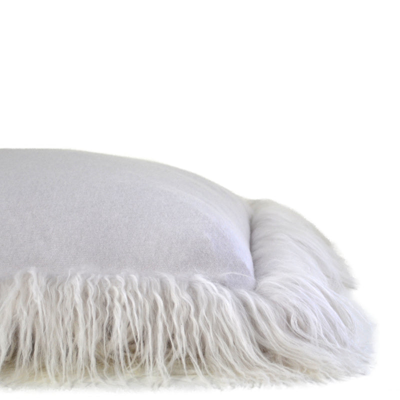 100% Cashmere Decorative Pillow with Tibetan Sheep Fur Trim in Cloudy Gray