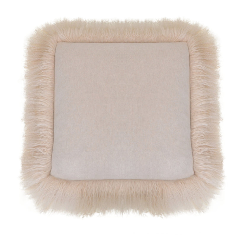 100% Cashmere Decorative Pillow with Tibetan Sheep Fur Trim in Oatmeal