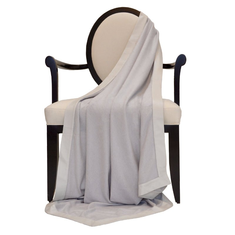 100% Decorative Throw with Genuine Leather Trim in Cloudy Gray