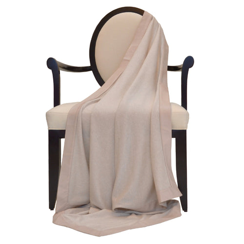 100% Cashmere Decorative Throw with Genuine Leather Trim in Oatmeal