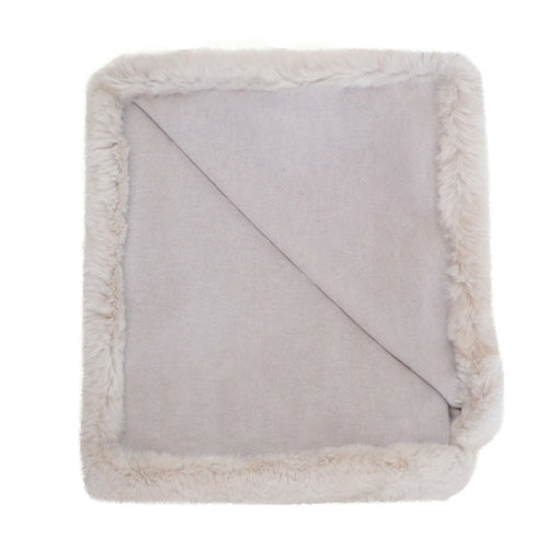 100% Cashmere Decorative Throw with Full Rabbit Trim in Cloudy Gray