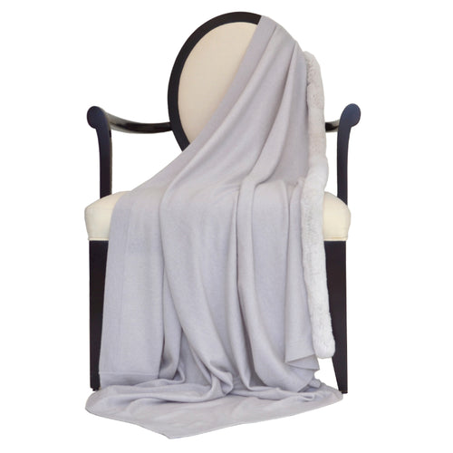 100% Cashmere Decorative Throw with Rabbit Fur Trim on 1 Side in Cloudy Gray