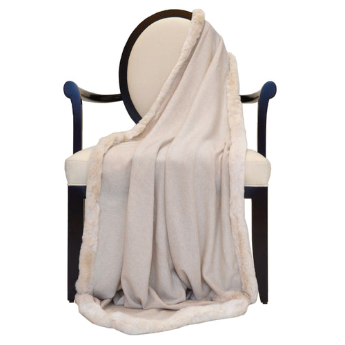100% Cashmere Decorative Throw with Full Rabbit Trim in Oatmeal
