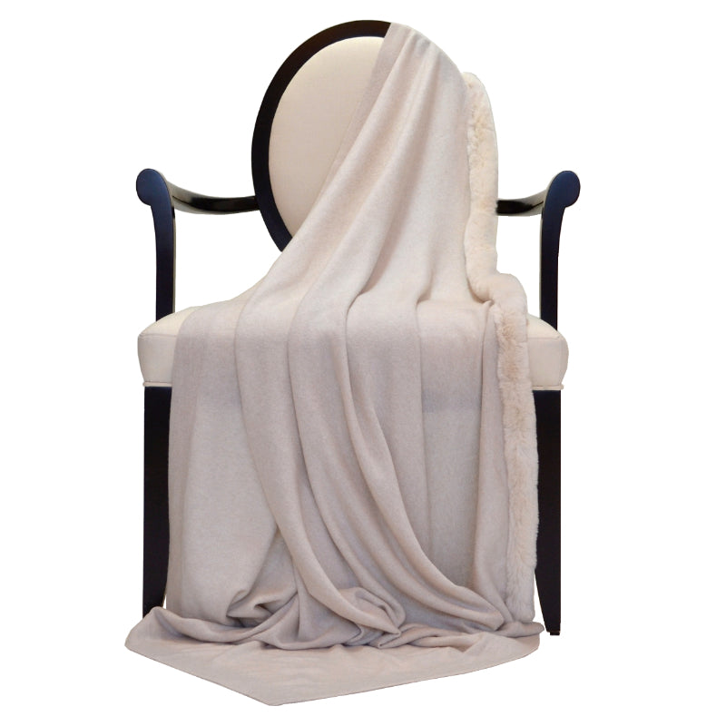 100% Cashmere Decorative Throw with Rabbit Trim on 1 Side in Oatmeal