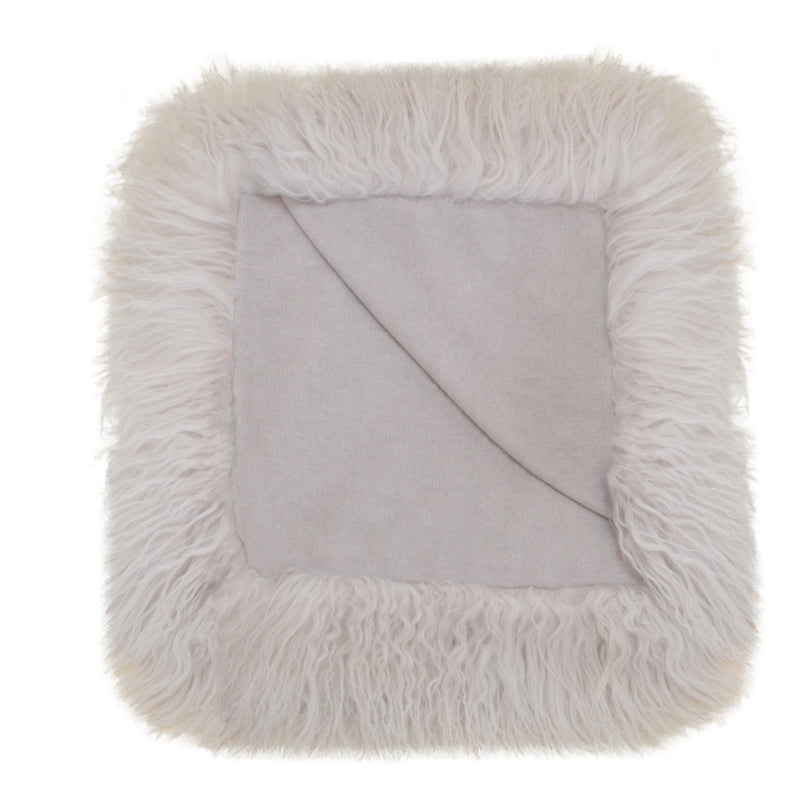 100% Cashmere Decorative Throw with Full Tibetan Sheep Fur in Cloudy Gray