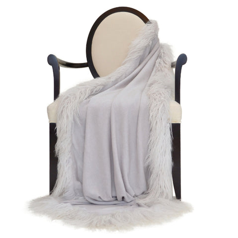 100% Cashmere Decorative Throw with Charcoal Rabbit Fur Pom Poms in Cloudy Gray