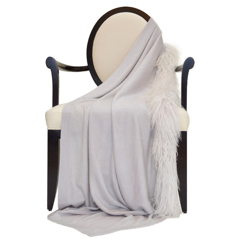 100% Cashmere Decorative Throw with Tibetan Sheep Fur Trim on 1 Side in Cloudy Gray