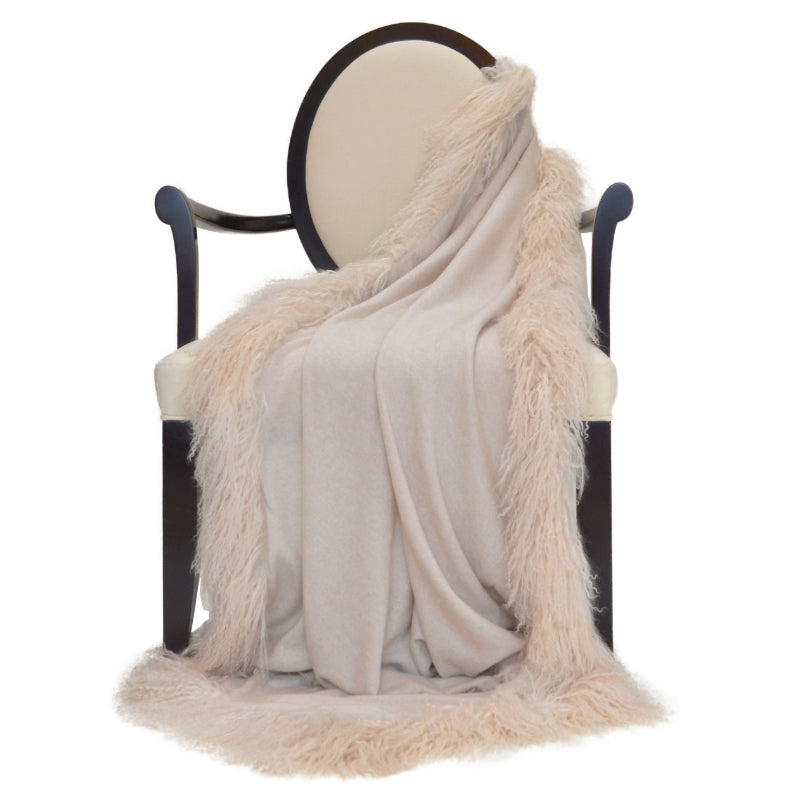 100% Cashmere Decorative Throw with Full Tibetan Sheep Fur in Oatmeal