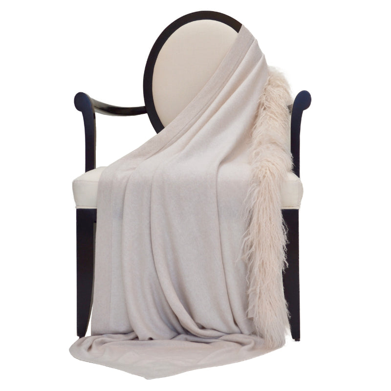 100% Cashmere Decorative Throw with Tibetan Sheep Fur on 1 Side in Oatmeal
