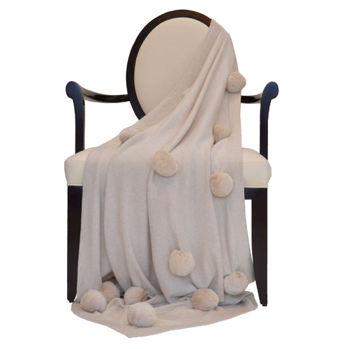 100% Cashmere Decorative Throw with Oatmeal Rabbit Fur Pom Poms in Oatmeal