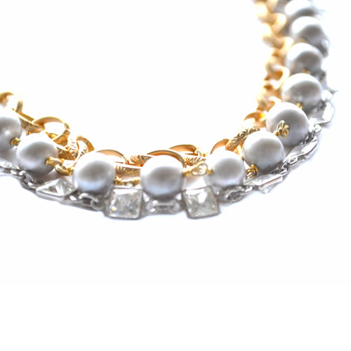 Gold & Gray Potato Pearl Paris Necklace