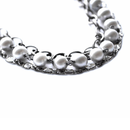 Oxidized Sterling Silver & Gray Potato Pearl Paris Necklace