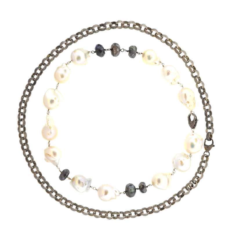 Delaire Necklace with Diamonds & White Baroque Pearls