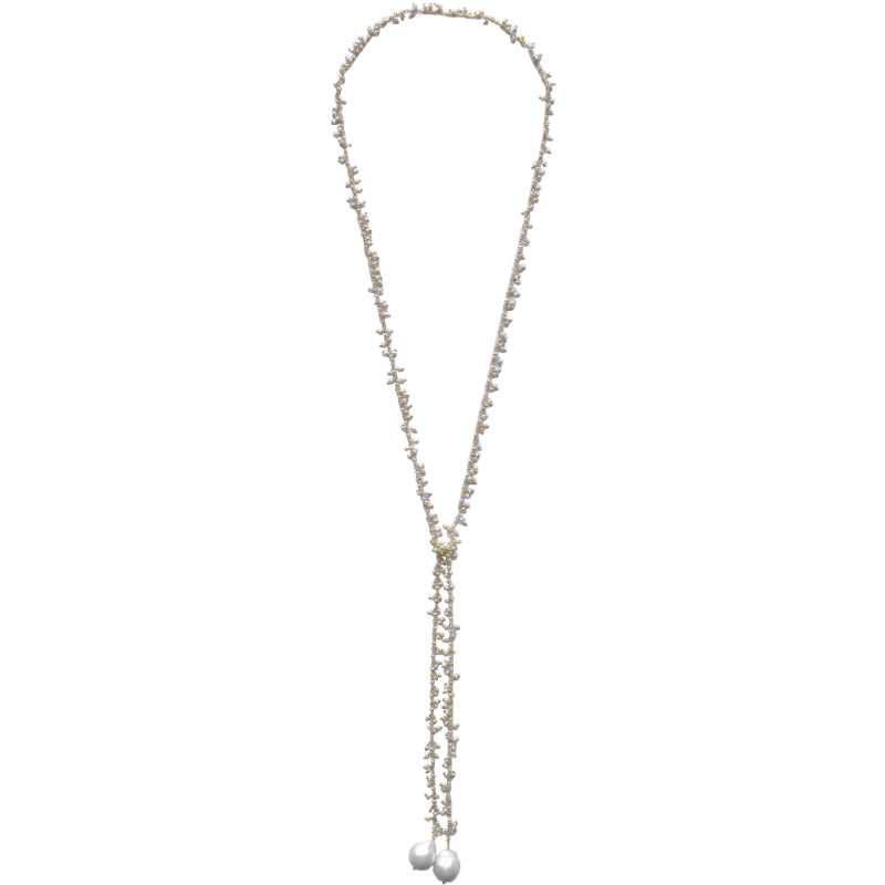 Dangling White Baroque Pearl Lariat in Gold