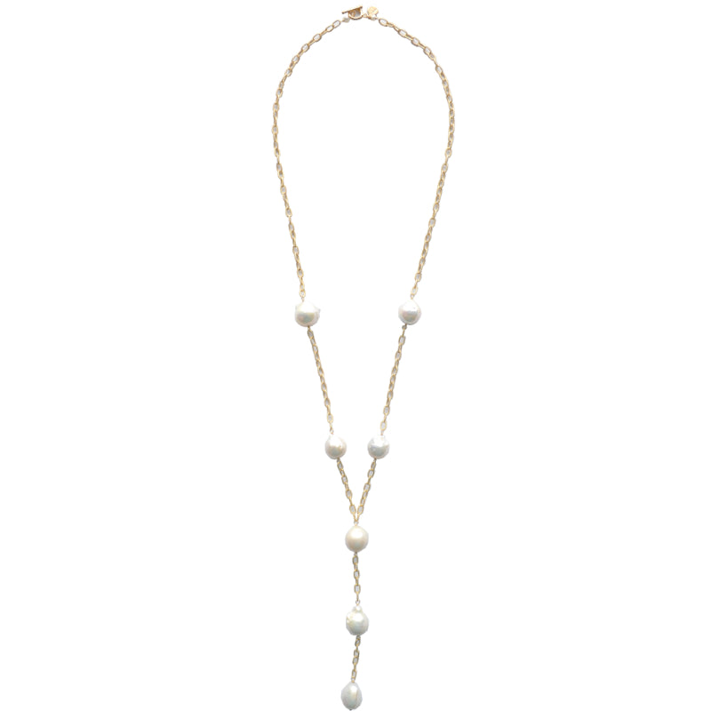 "White Baroque Pearl Chunky Cable Link ""Y"" Lillypad Necklace"