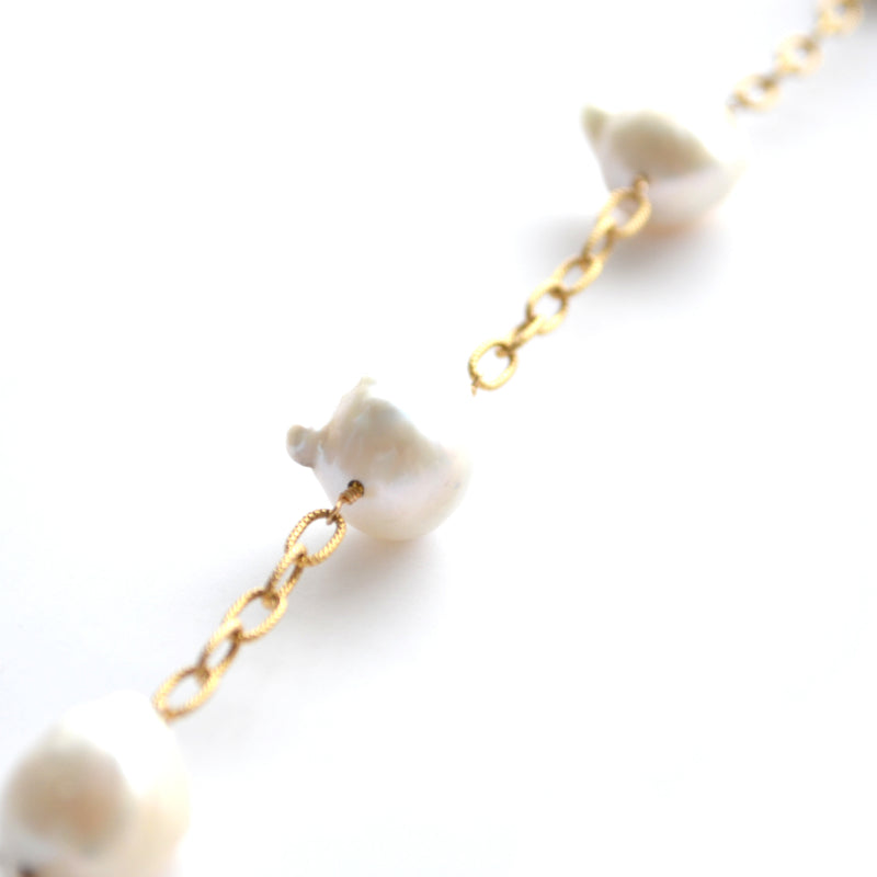 White Baroque Pearl Chunky Cable Link Lillypad Necklace
