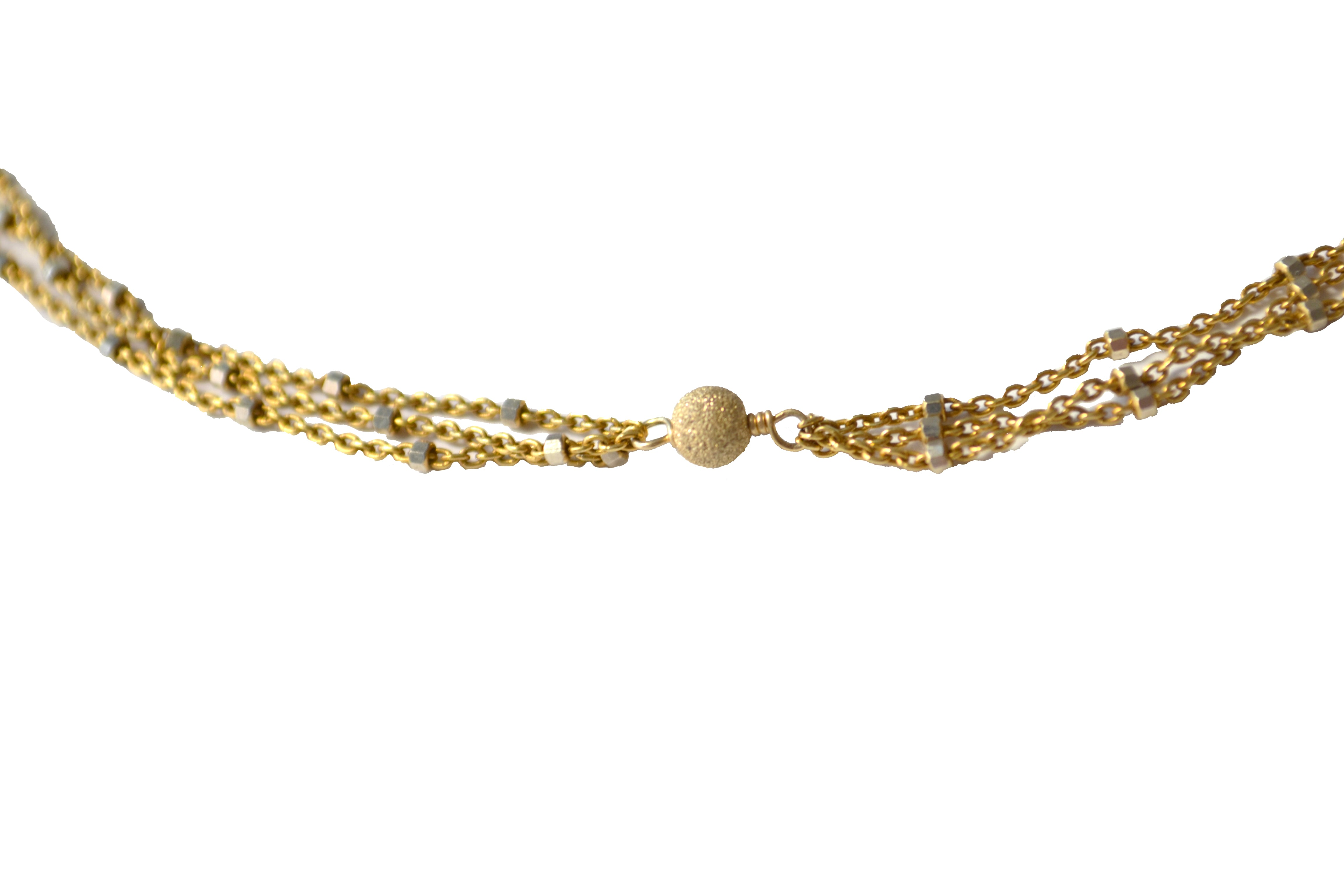Gold Starry Nights Triple Strand Lariat Necklace