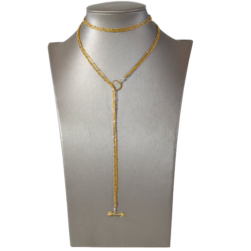 Gold Starry Nights Lariat with Pave Diamond Arrow and Circle Ends