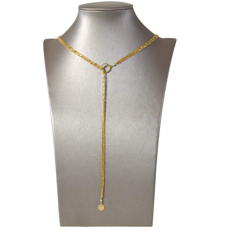Gold Starry Nights Lariat with Pave Diamond Circle Ends